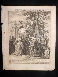 Butley 1762 Antique Religious Print. Jepth meeting his daughter